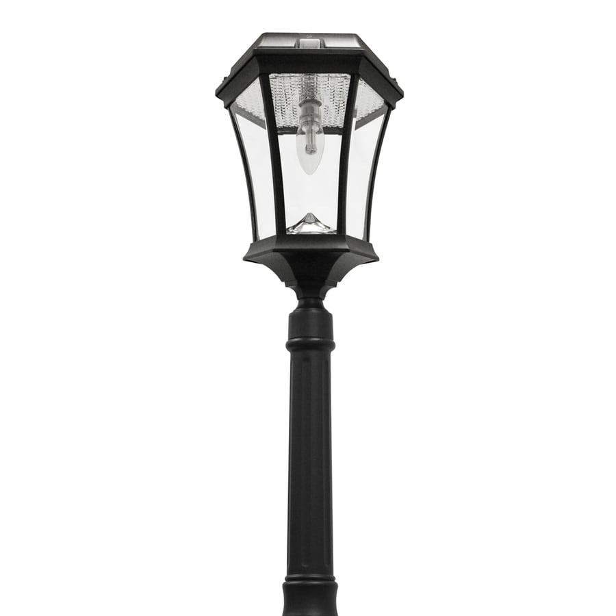 Gama Sonic Victorian Bulb 90-in H Black Solar LED Complete Post Light