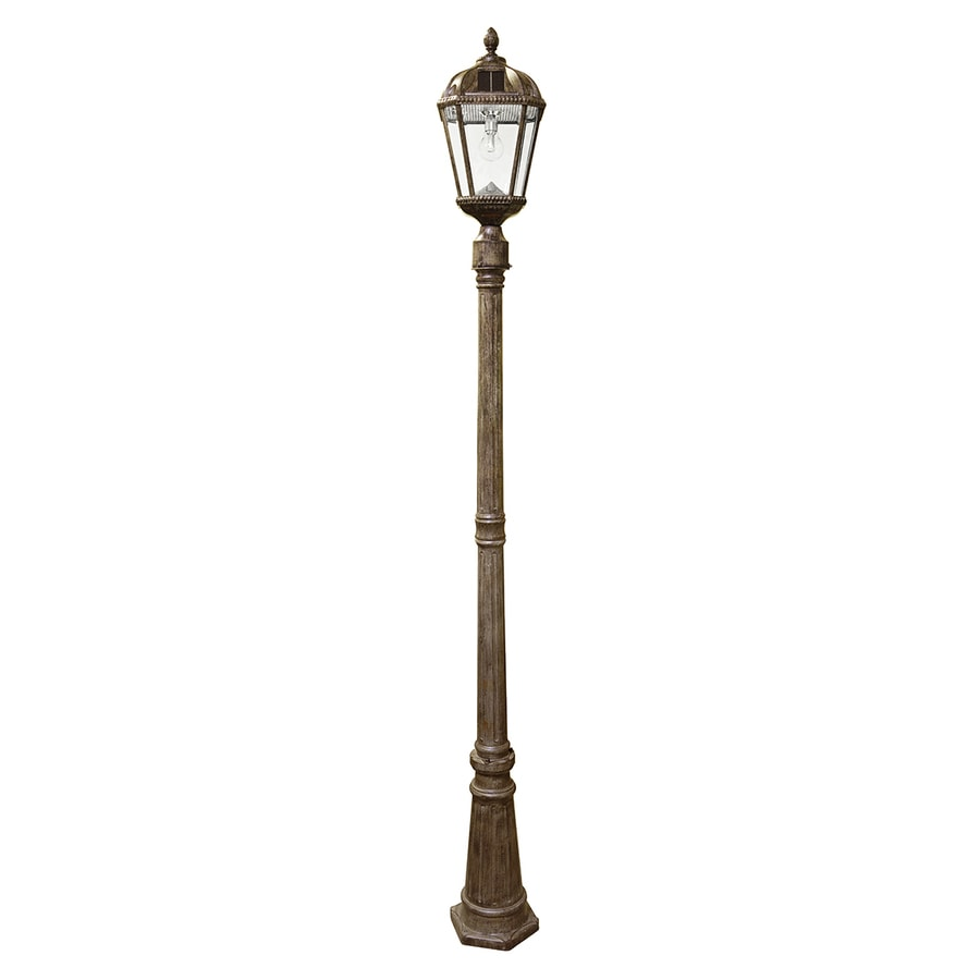 Gama Sonic Royal Bulb 87-in H Weathered Bronze Solar LED Complete Post Light