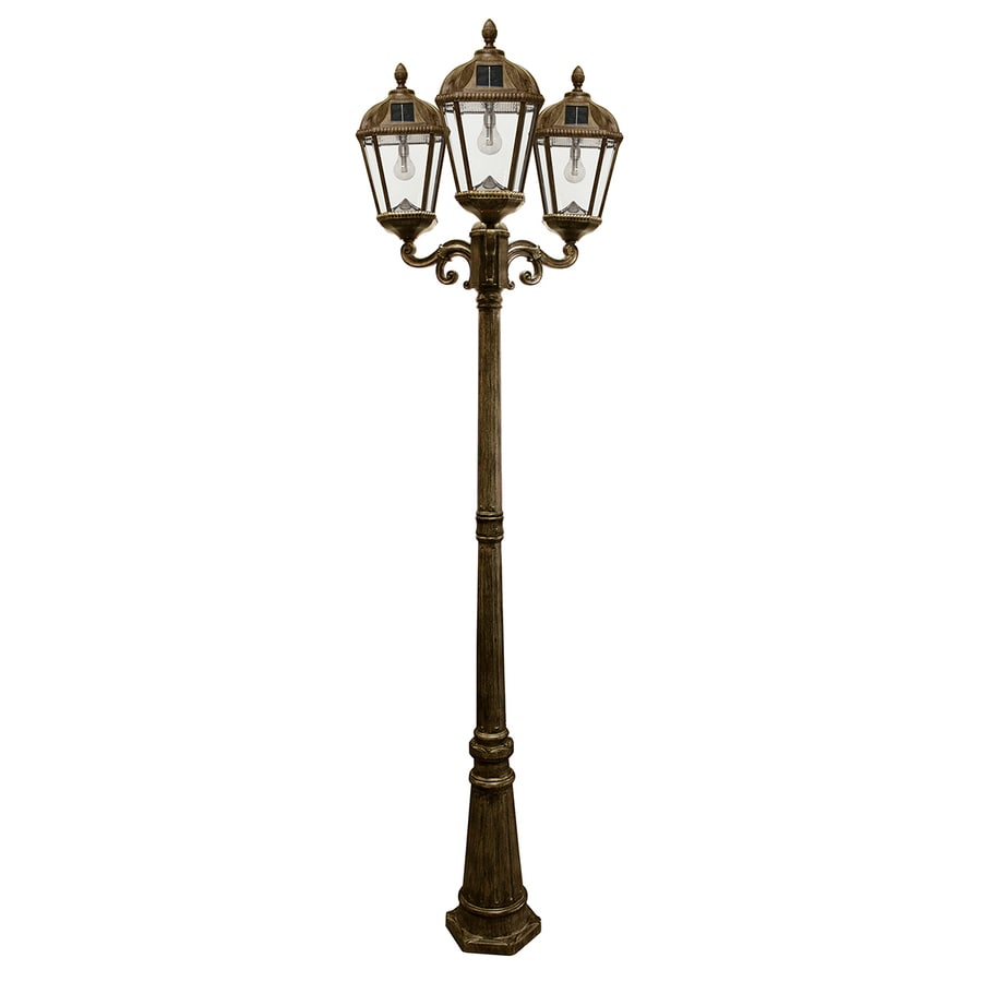 Gama Sonic Royal Bulb 89-in H Weathered Bronze Solar LED Complete Post Light