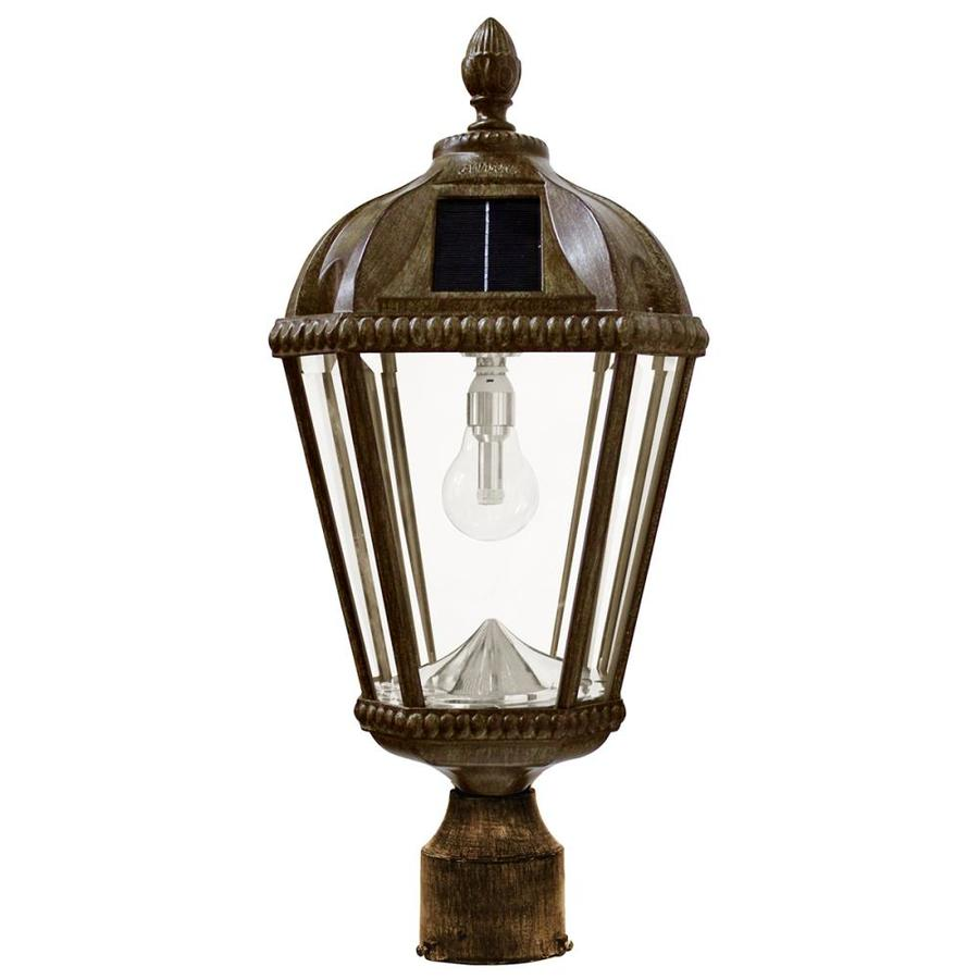 Gama Sonic Royal Bulb 18-in H Weathered Bronze Solar LED Post Light