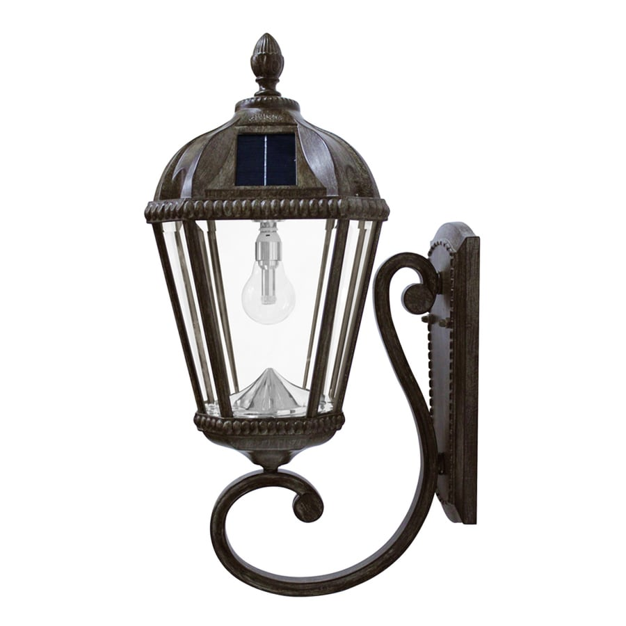 fe9da4424 Gama Sonic Royal Bulb 21-in H Weathered Bronze Solar LED Outdoor Wall Light