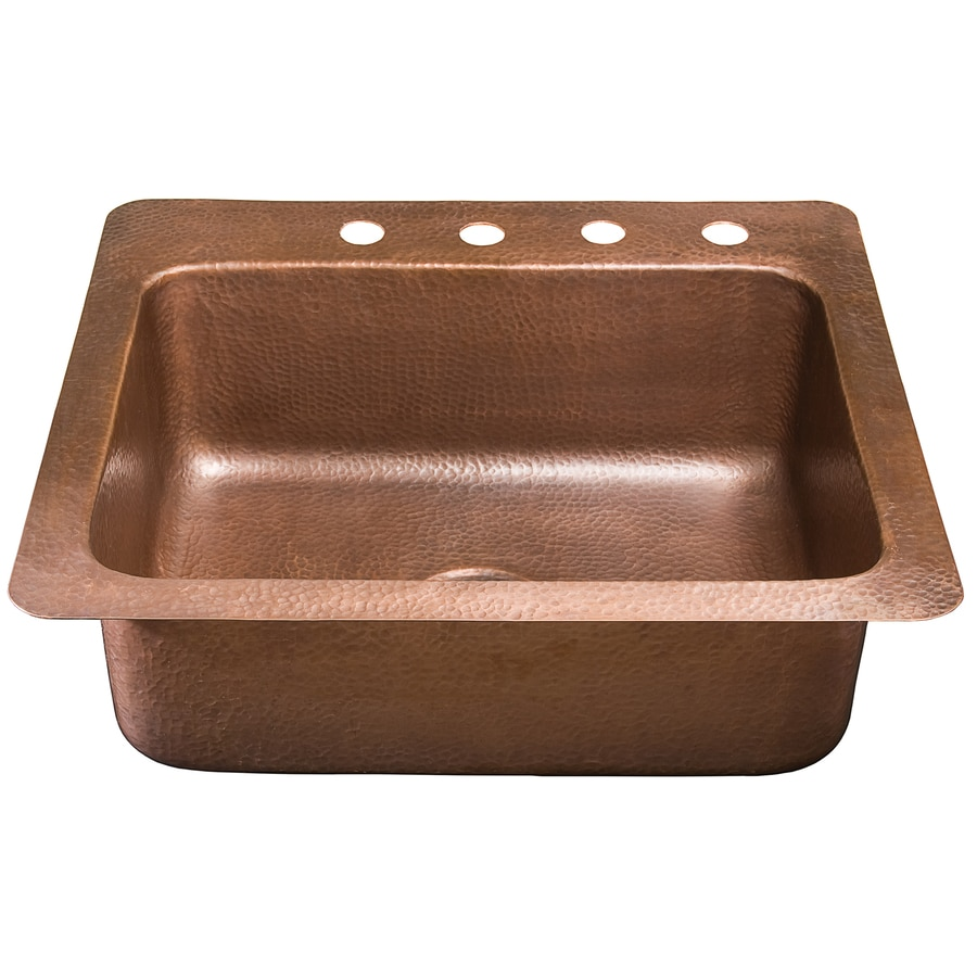 SINKOLOGY Kahlo 22-in x 25-in Antique Copper Single-Basin Copper Drop-in 4-Hole Commercial/Residential Kitchen Sink