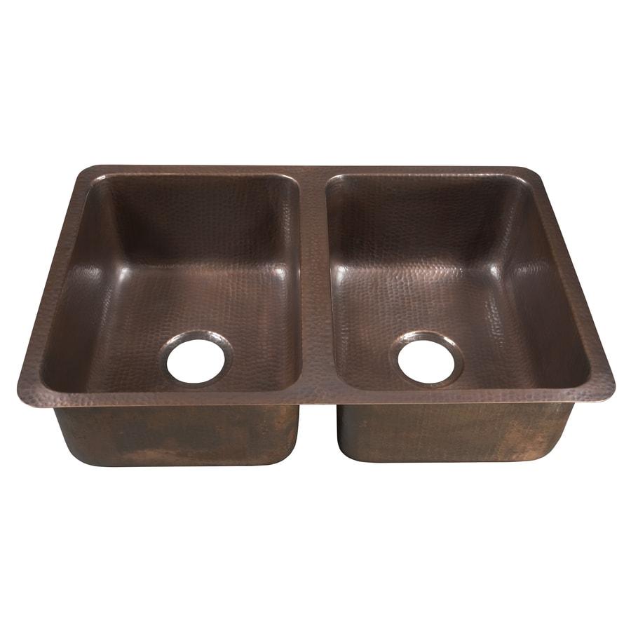 SINKOLOGY Da Vinci 20-in x 31-in Antique Copper Double-Basin Copper Undermount Commercial/Residential Kitchen Sink