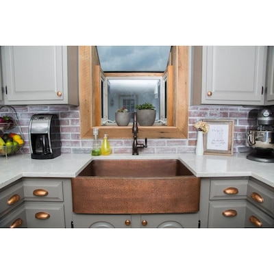 15 Gauge Single Basin Apron Front Copper Kitchen Sink