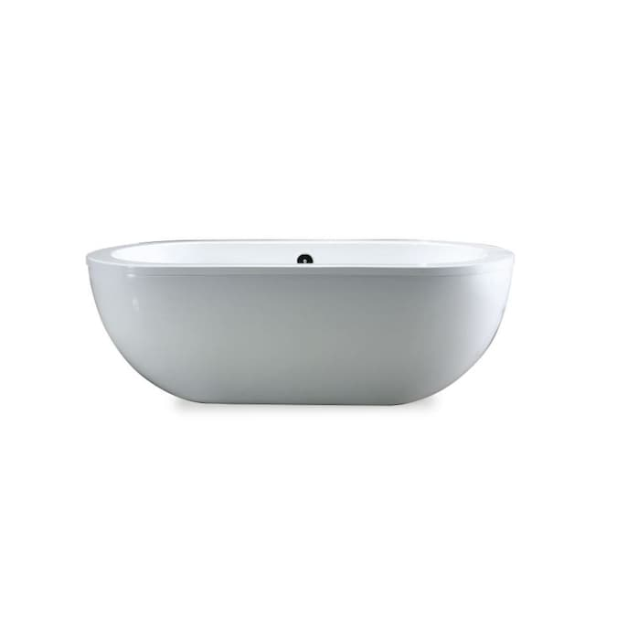 Ove Decors 71 In L X 34 In W X 23 In H Gloss White Acrylic Oval Pedestal Bathtub With Center Drain In The Bathtubs Department At Lowes Com