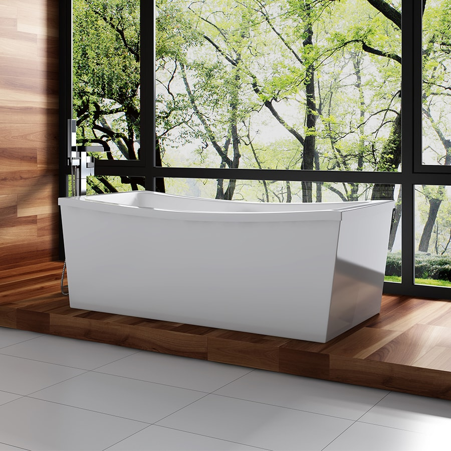 OVE Decors Terra 70 In Gloss White Acrylic Pedestal Bathtub With Back  Center Drain