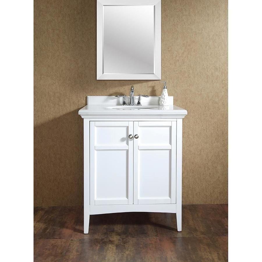 Shop ove decors campo pure white undermount single sink bathroom vanity with cultured marble top Marble top bathroom vanities