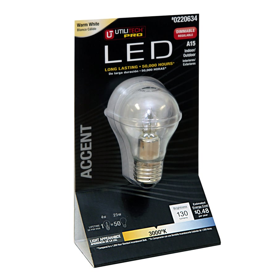 Utilitech 25W Equivalent Dimmable Warm White LED Decorative Light Bulb