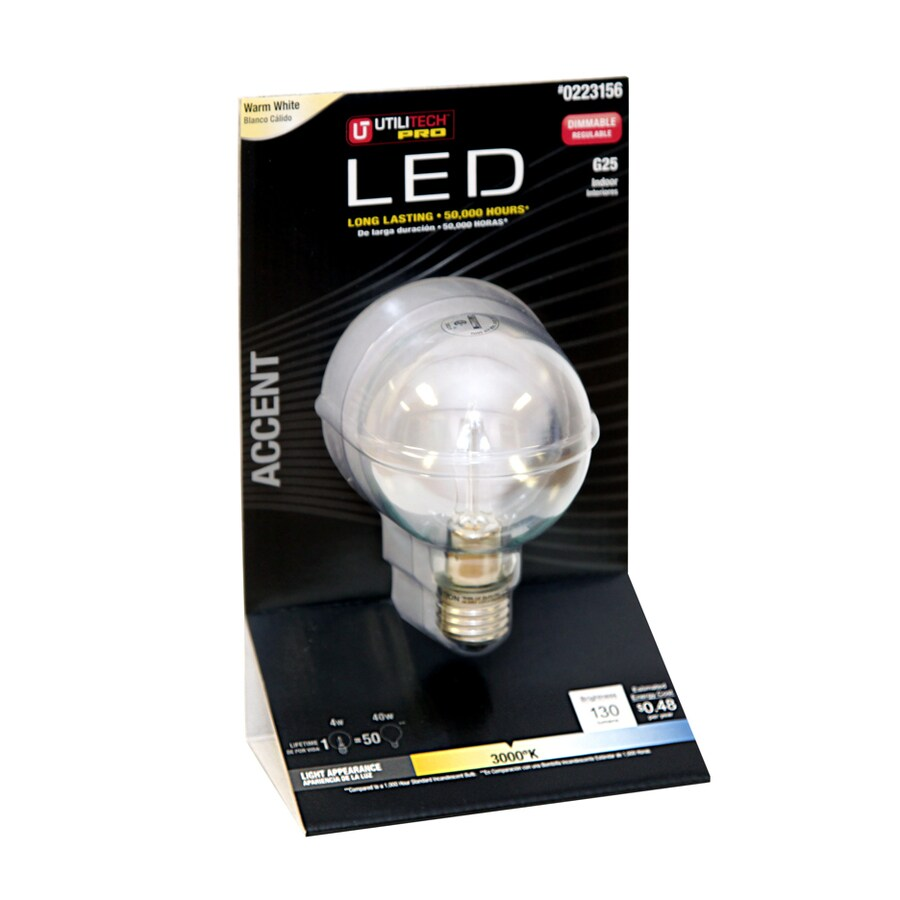 Utilitech 25W Equivalent Dimmable Warm White LED Decorative Light Bulb
