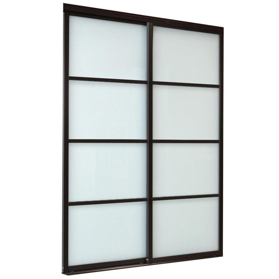 ReliaBilt 9800 Series Boston Frosted Glass Aluminum Sliding Closet Interior Door with Hardware (Common: 48-in x 96-in; Actual: 48-in x 96-in)