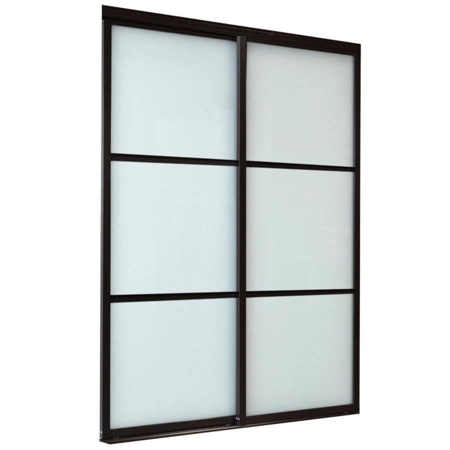 ReliaBilt 9800 Series Boston Frosted Glass Aluminum Sliding Closet Interior Door with Hardware (Common: 60-in x 96-in; Actual: 60-in x 96-in)