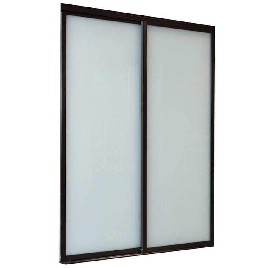 ReliaBilt 9800 Series Boston Frosted Glass Aluminum Sliding Closet Interior Door with Hardware (Common: 72-in x 96-in; Actual: 72-in x 96-in)