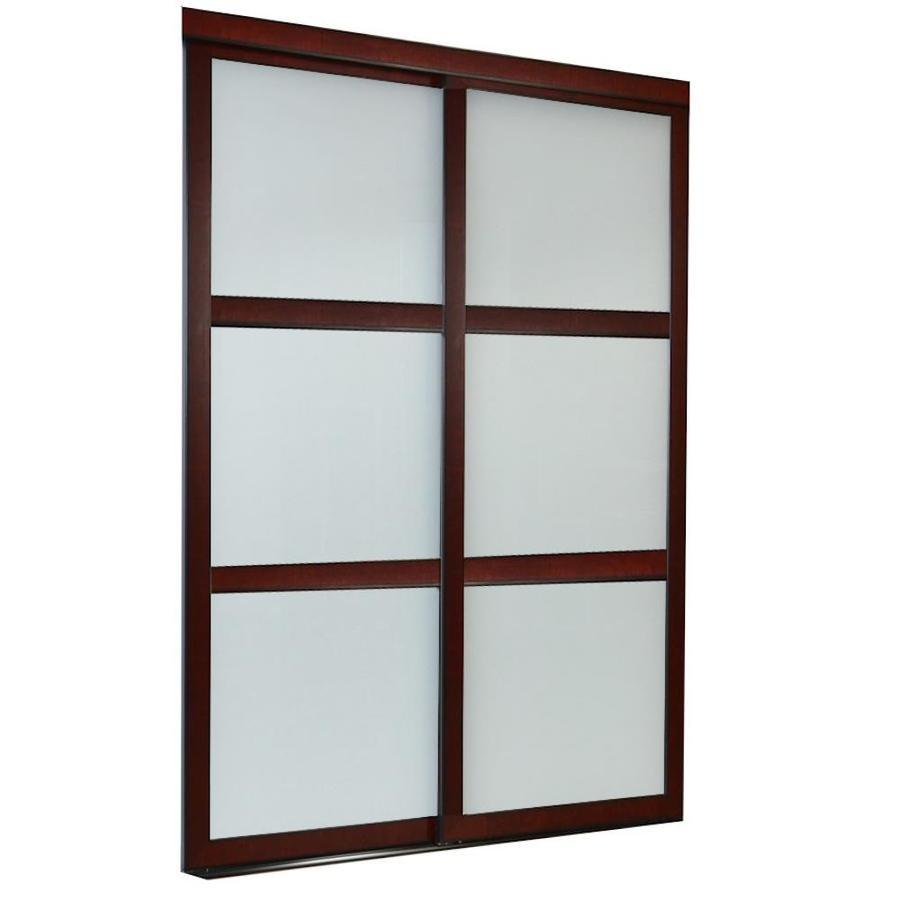 ReliaBilt 9700 Series North Frosted Glass Pine Sliding Closet Interior Door with Hardware (Common: 48-in x 80-in; Actual: 48-in x 80-in)