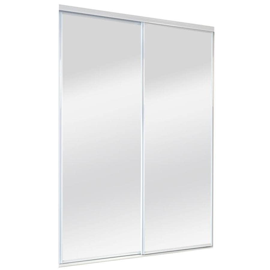 Reliabilt 9500 Series Walden White Mirror Panel Steel Sliding Closet Door With Hardware Common 72 In X 96 Actual