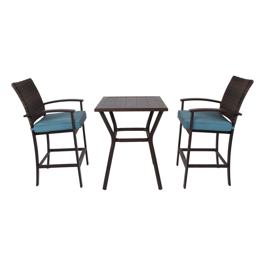 Charmant Allen + Roth Atworth 3 Piece Brown Metal Frame Patio Set With Peacock Blue  Cushions