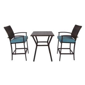Allen + Roth Atworth 3 Piece Brown Metal Frame Patio Set With Peacock Blue  Cushions