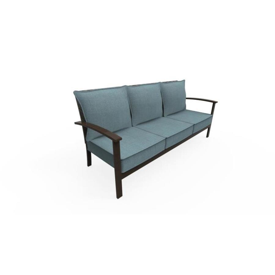 Allen Roth Atworth Outdoor Sofa With Solid Pea Blue Cushion And Brown Aluminum Frame