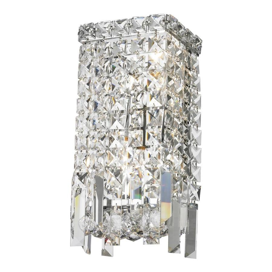 Worldwide Lighting 6-in W 2-Light Chrome Crystal Ambient Wall Sconce