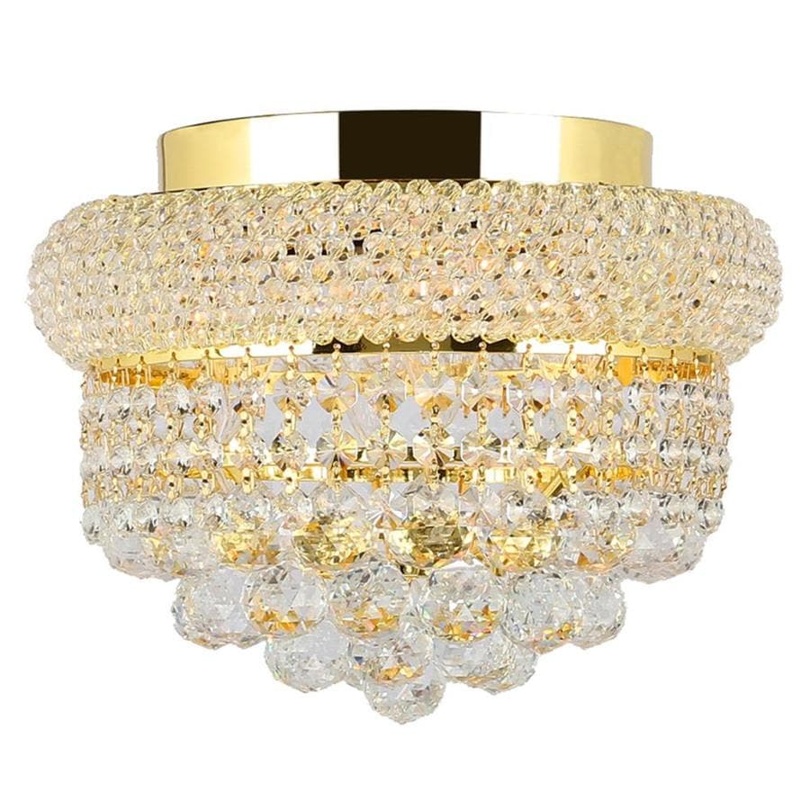 Worldwide Lighting Empire 12-in W Gold Crystal Ceiling Flush Mount Light