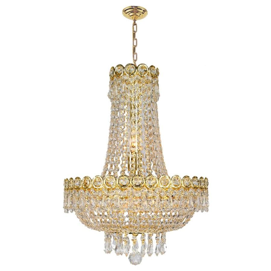 Worldwide Lighting Empire 16-in 8-Light Polished Gold Crystal Crystal Empire Chandelier