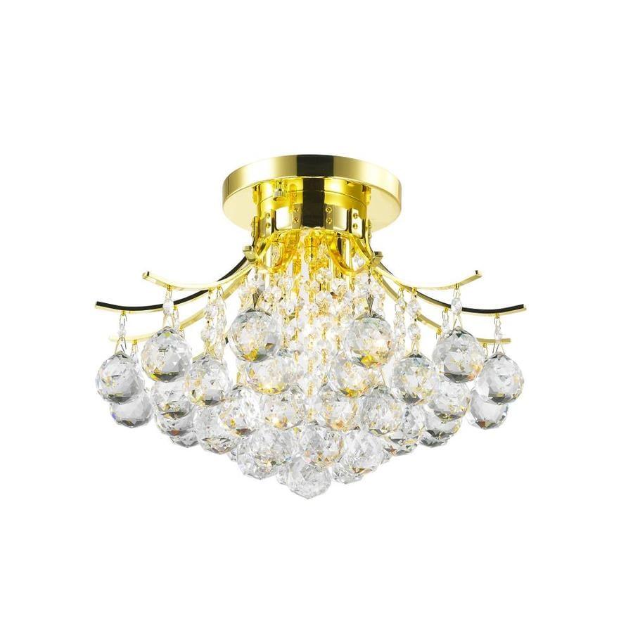 Worldwide Lighting 16.0-in W Gold Flush Mount Light