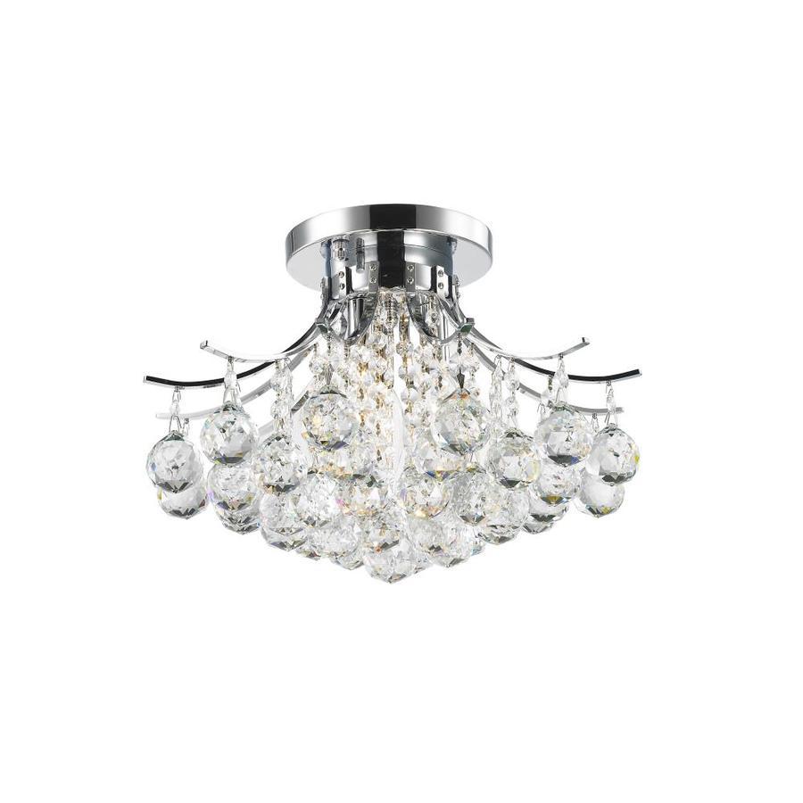 Worldwide Lighting 16-in W Chrome Flush Mount Light