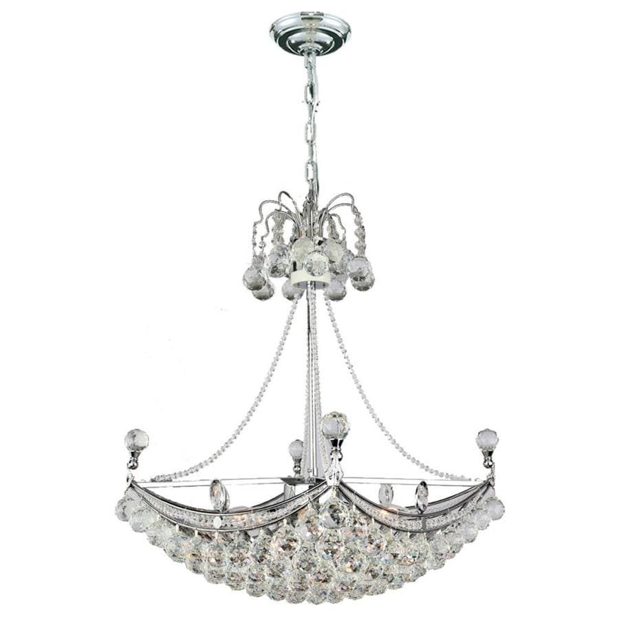 Worldwide Lighting Empire 20-in 6-Light Polished Chrome Crystal Empire Chandelier