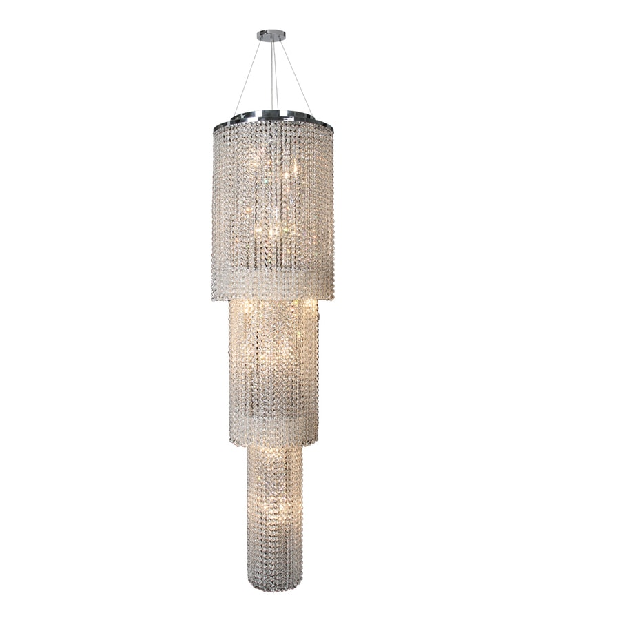 Worldwide Lighting Prism 16-in 18-Light Polished Chrome Crystal Crystal Tiered Chandelier