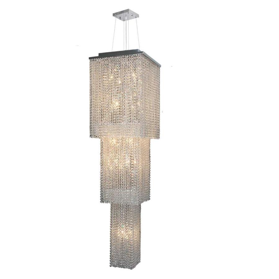Worldwide Lighting Prism 16-in 20-Light Polished Chrome Crystal Tiered Chandelier