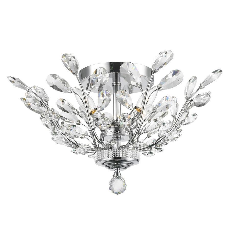 Worldwide Lighting Aspen 20-in W Chrome Crystal Semi-Flush Mount Light