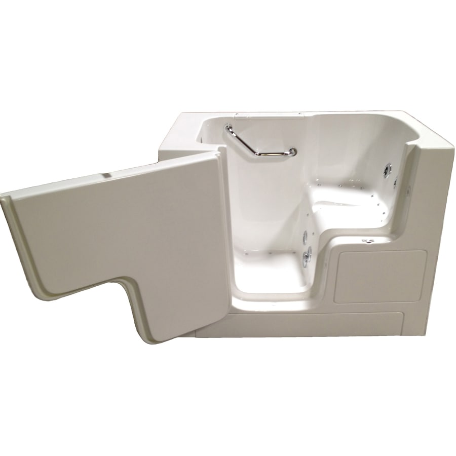 Total Care in Bathing BS Series 52-in White Gelcoat/Fiberglass Walk-In Whirlpool Tub and Air Bath with Left-Hand Drain