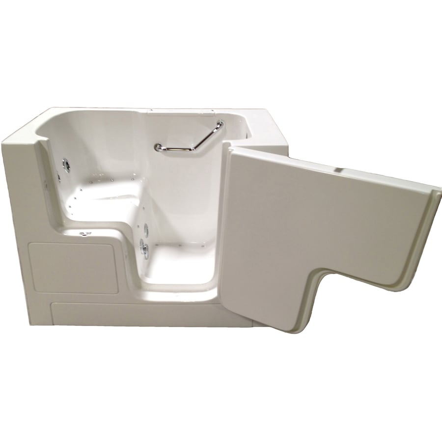 Total Care in Bathing Bs Series 52-in L x 32-in W x 40-in H White Gelcoat and Fiberglass Rectangular Walk-in Whirlpool Tub and Air Bath