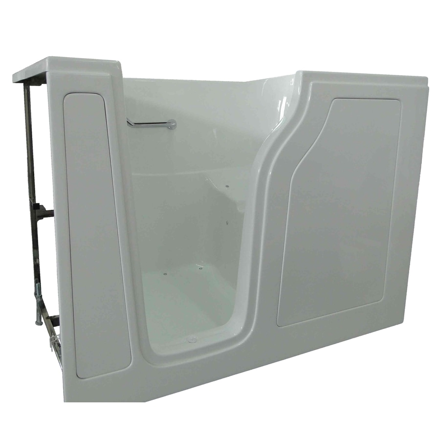 Total Care in Bathing BS Series 55-in White Gelcoat/Fiberglass Walk-In Whirlpool Tub and Air Bath with Left-Hand Drain