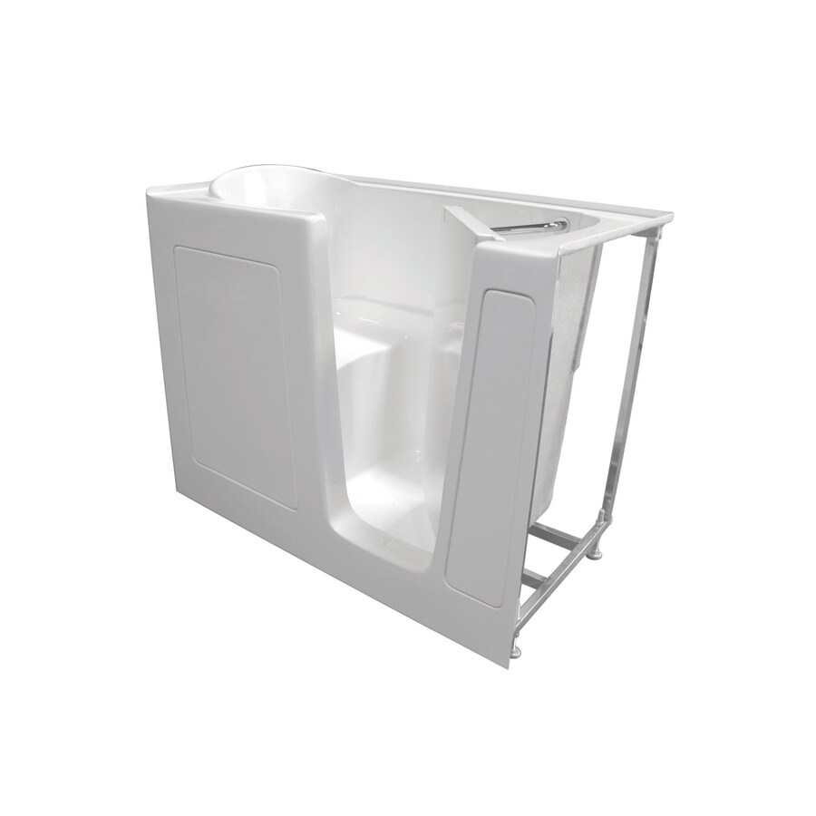 Total Care in Bathing Bs Series 52-in L x 28-in W x 41-in H White Gelcoat and Fiberglass Rectangular Walk-in Whirlpool Tub and Air Bath