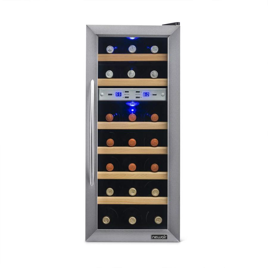 shop wine chillers  coolers at lowescom - newair bottle stainless steel dual zone wine chiller