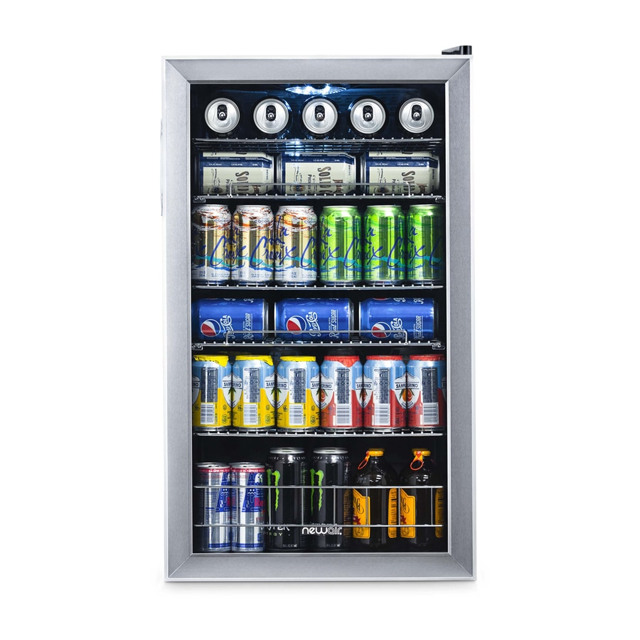 Newair Freestanding Beverage Cooler Stainless Steel 84 Can Storage Led Lighting Home & Garden Kitchen, Dining & Bar