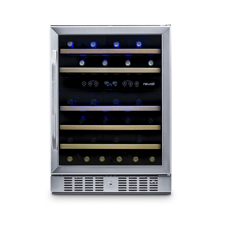 Newair 46 Bottle Capacity Stainless Steel Dual Zone Cooling Built In Freestanding Wine