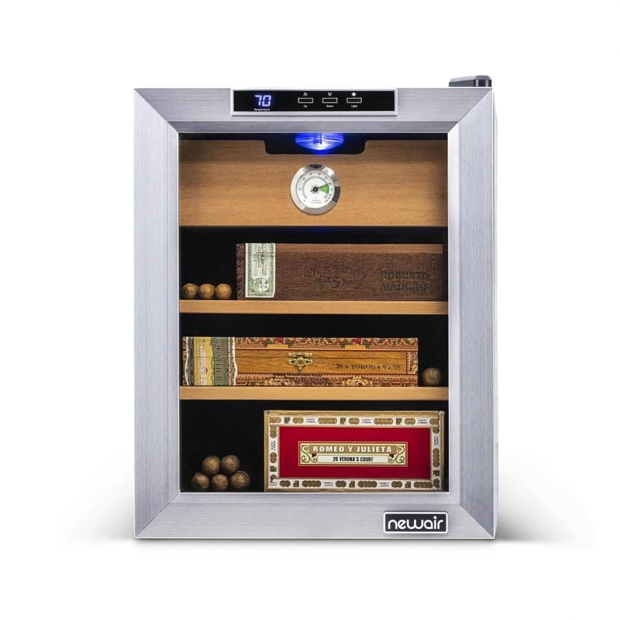 NewAir 19-in x 14-in x 19.5-in Black Stainless Steel Freestanding Table Humidor