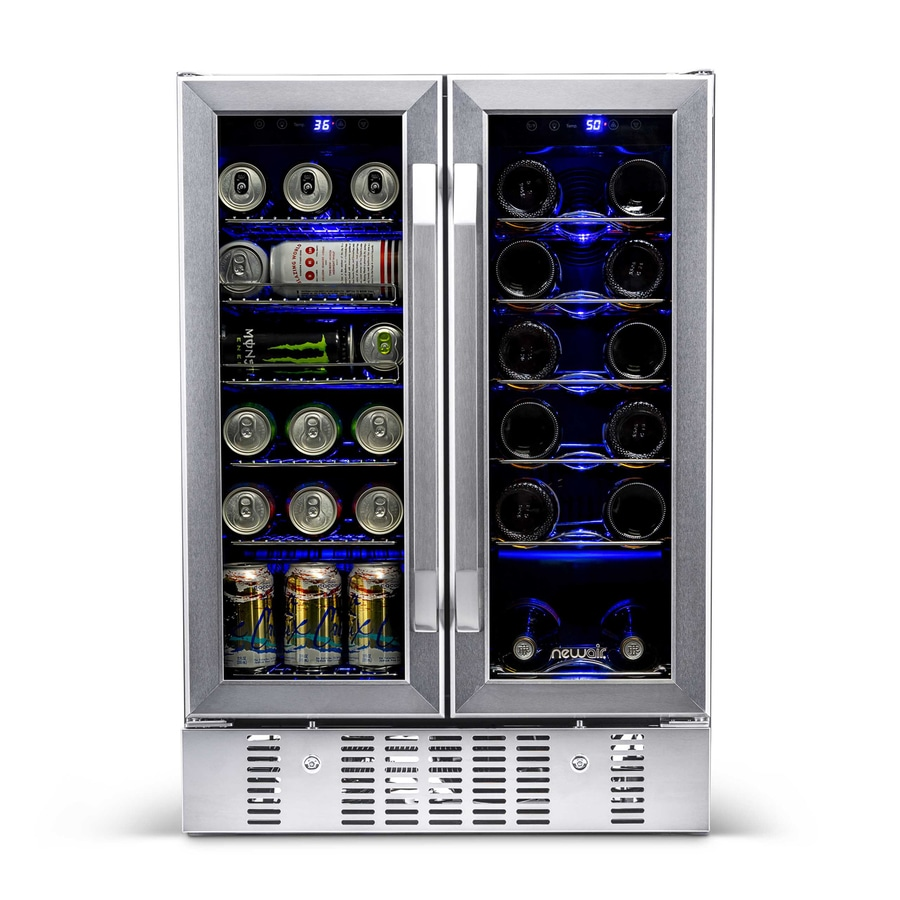 Shop newair 18 bottle stainless steel and black dual zone for Modern homes 8 bottle wine cooler