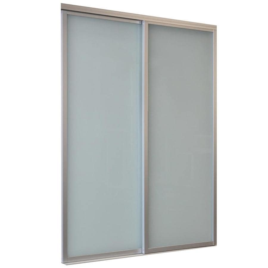 ReliaBilt 9800 Series Boston By-Pass Door Frosted Glass Glass Sliding Closet Interior Door with Hardware (Common: 48-in x 80-in; Actual: 48-in x 80-in)