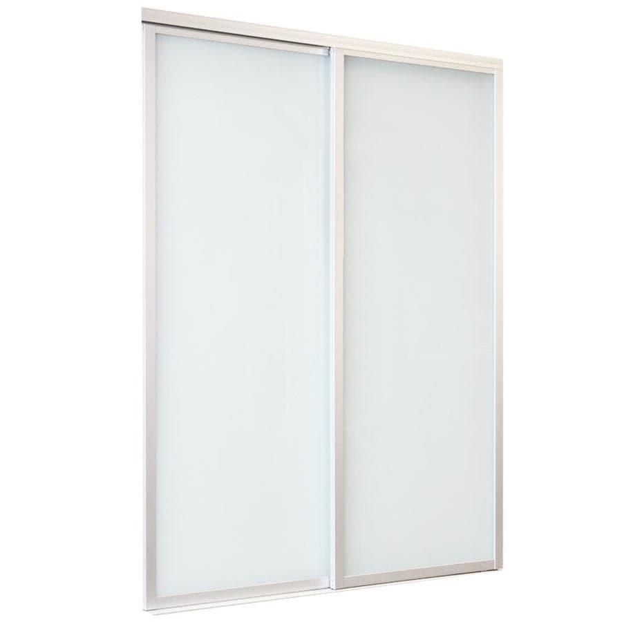 ReliaBilt Frosted Glass Sliding Closet Interior Door (Common: 60-in x 80-in; Actual: 60-in x 80-in)