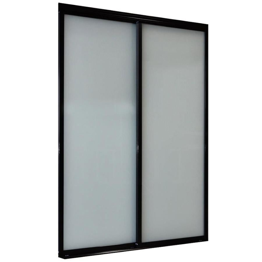 ReliaBilt 9800 Series Boston By-Pass Door Frosted Glass Glass Sliding Closet Interior Door with Hardware (Common: 72-in x 80-in; Actual: 72-in x 80-in)