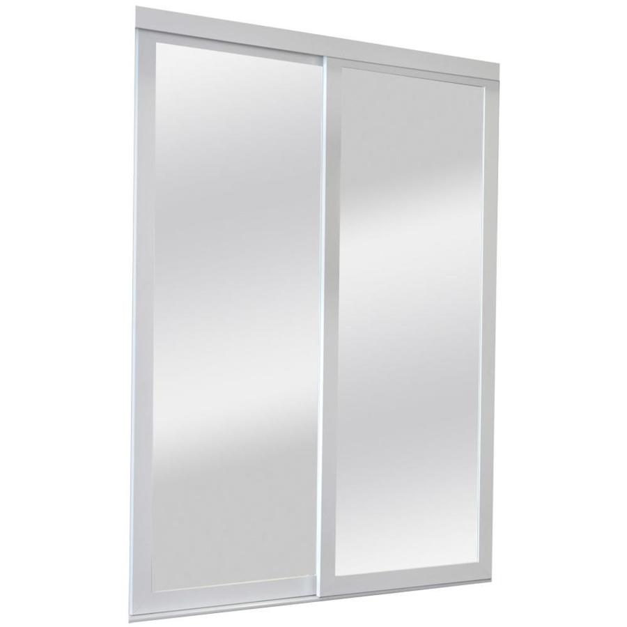 Shop reliabilt mirror panel mirror pine sliding closet for Sliding panel doors interior