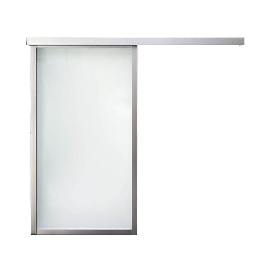 ReliaBilt 9851 Series Boston Wall Slider Frosted Glass Aluminum Barn Interior Door with Hardware (Common: 34-in x 96-in; Actual: 34-in x 95.5625-in)