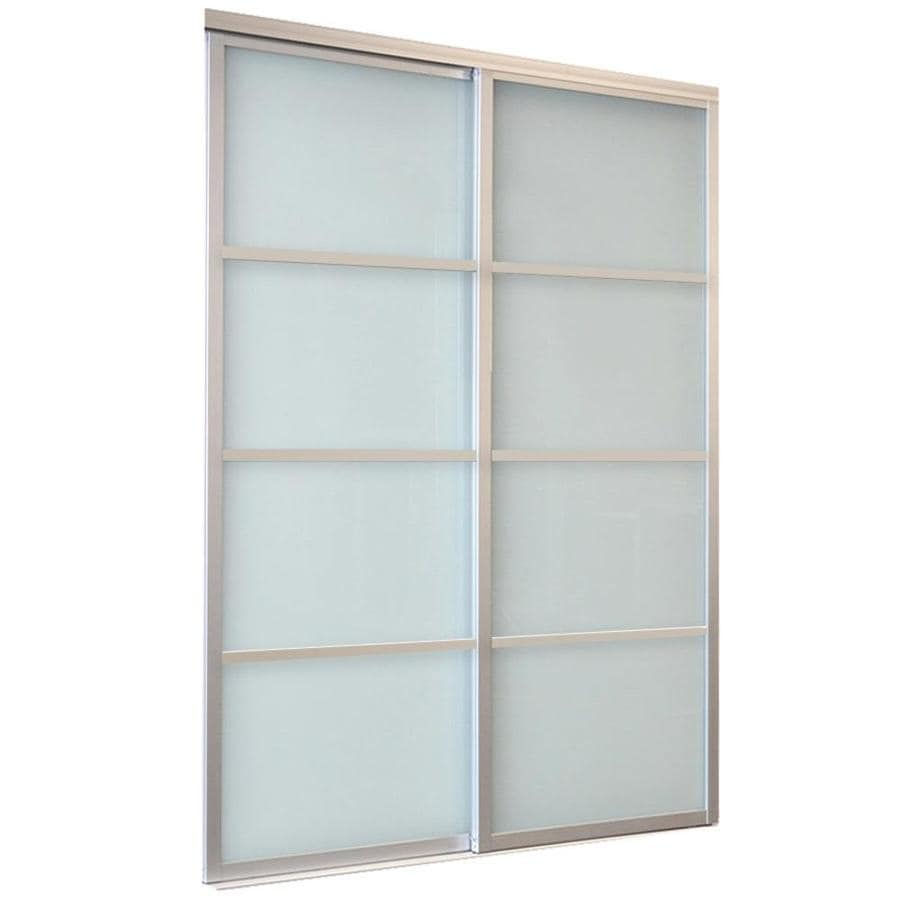Glass interior doors lowes - Reliabilt Boston Series Closet Door White 4 Lite Laminated Glass Sliding Closet Interior Door