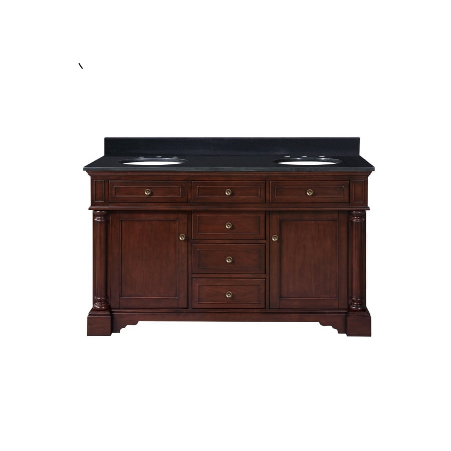 Shop allen roth auburn double sink bathroom vanity with for Bath vanities with tops