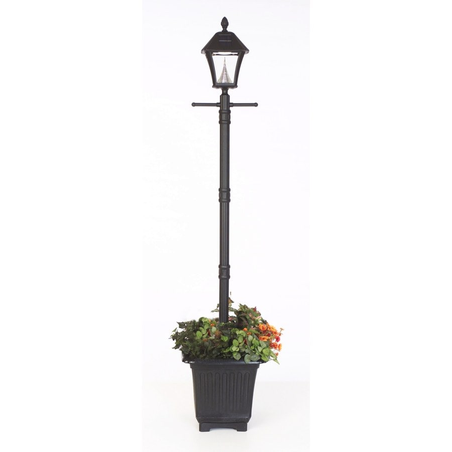 Outdoor Lamp Post B Q: Gama Sonic Baytown 77-in H Black Solar LED Post Light At