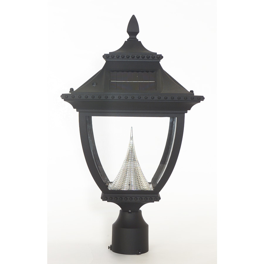 Gama Sonic Pagoda 21-in H Black Solar Integrated Post Light