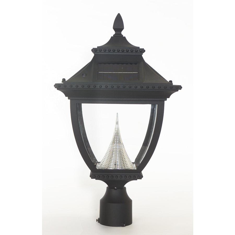 Shop Gama Sonic Pagoda 21 In H Black Solar LED Post Light At
