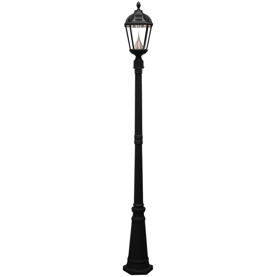 Gama Sonic Royal 87-in H Black Solar Integrated Complete Post Light